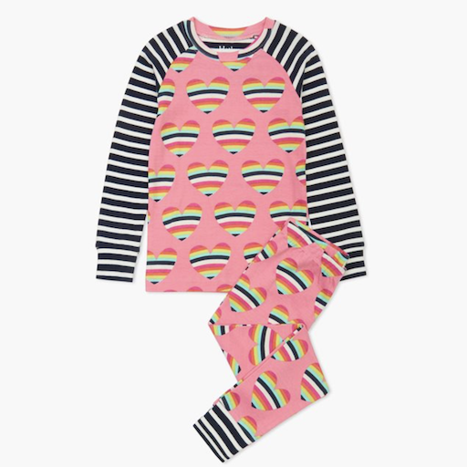HATLEY RAINBOW HEARTS ORGANIC COTTON RAGLAN PAJAMA SET
