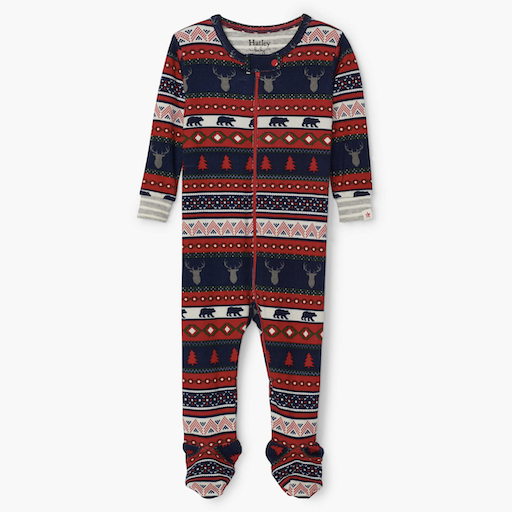 HATLEY FAIR ISLE STAGS ORGANIC COTTON FOOTED PAJAMA