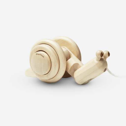 PLAN TOYS, INC. PULL- ALONG SNAIL NATURAL
