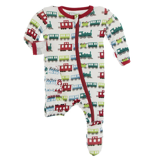 KICKEE PANTS PRINT FOOTIE WITH ZIPPER IN NATURAL TOY TRAIN