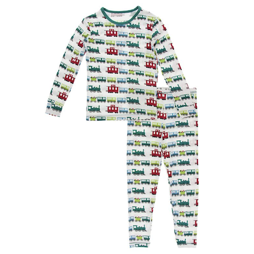 KICKEE PANTS PRINT LONG SLEEVE PAJAMA SET IN NATURAL TOY TRAIN