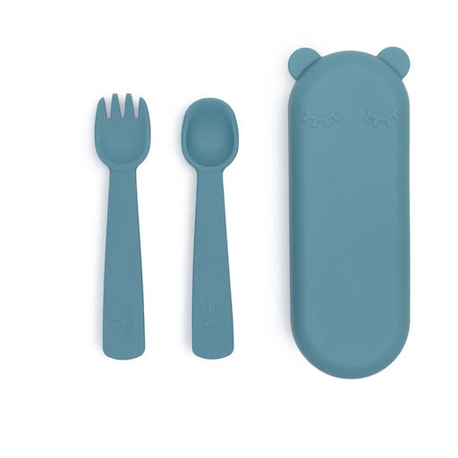 WE MIGHT BE TINY FEEDIE FORK & SPOON SET IN BLUE DUSK