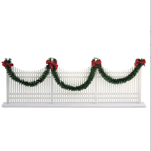 BYERS' CHOICE DECORATED WHITE PICKET FENCE