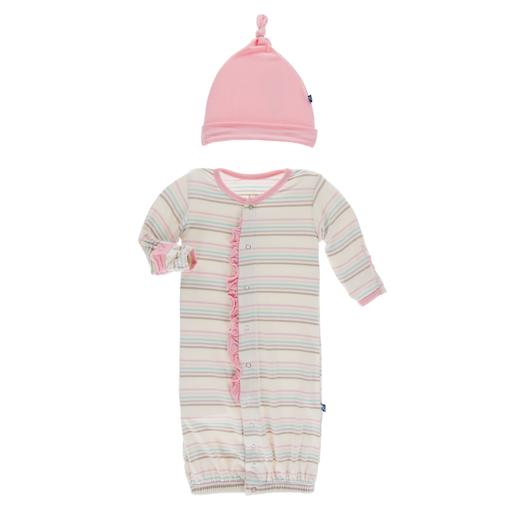 KICKEE PANTS PRINT RUFFLE LAYETTE GOWN CONVERTER & SINGLE KNOT HAT SET IN CUPCAKE STRIPE