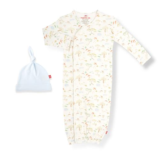 MAGNETIC ME LAND DOWN UNDER ORGANIC COTTON MAGNETIC GOWN & HAT SET