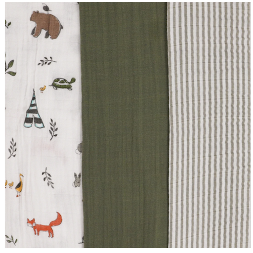 LITTLE UNICORN FOREST FRIENDS MUSLIN SWADDLE SET