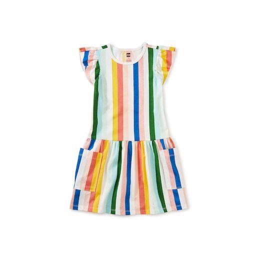 TEA FLUTTER SLEEVE POCKET DRESS