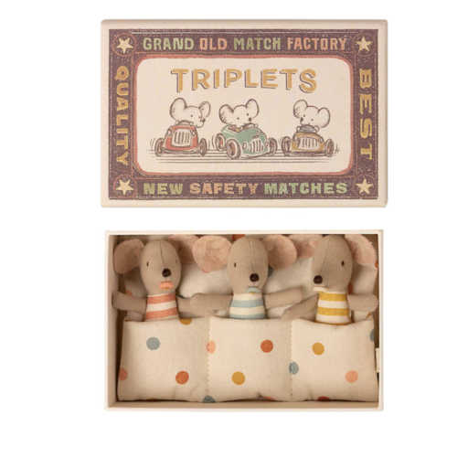 MAILEG TRIPLETS BABY MICE IN A MATCHBOX