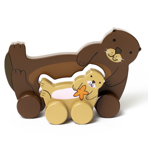 JACK RABBIT CREATIONS BIG AND LITTLE SEA OTTER PUSH TOY