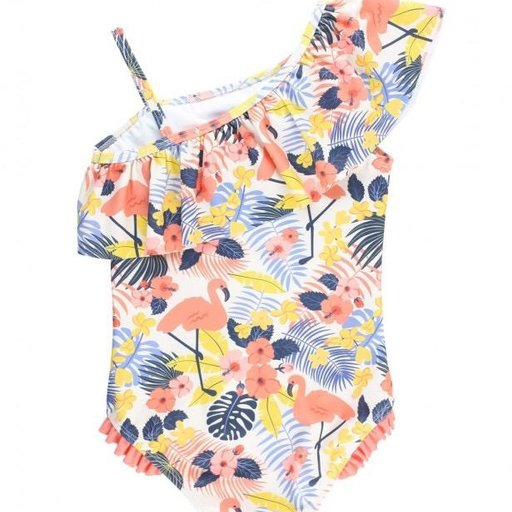 RUFFLEBUTTS, INC. TROPICAL FLAMINGO ONE SHOULDER RUFFLE ONE PIECE