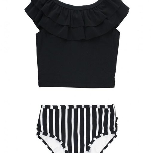 RUFFLEBUTTS, INC. BLACK AND WHITE STRIPE RUFFLE TANKINI