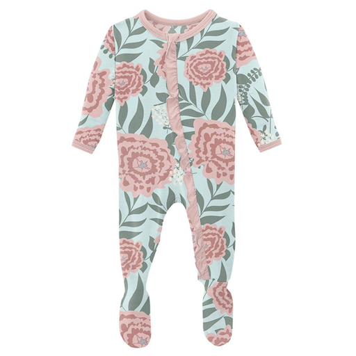 KICKEE PANTS PRINT MUFFIN FOOTIE WITH ZIPPER