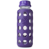 LIFEFACTORY 9 OZ GLASS BEVERAGE BOTTLE WITH SILICONE SLEEVE AND FLAT CAP
