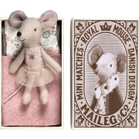 MAILEG LITTLE SISTER PINK STAR MOUSE IN A BOX
