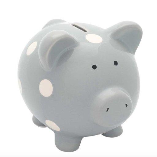 ELEGANT BABY CLASSIC GRAY PIGGY BANK