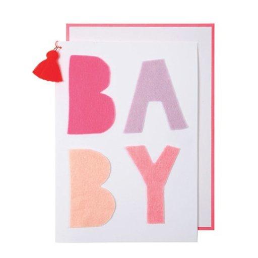 MERI MERI PINK BABY & TASSEL BABY CARD