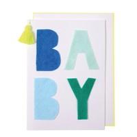 MERI MERI BLUE FELT BABY CARD