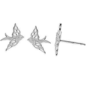 BOMA STERLING SILVER FLYING BIRD STUD EARRING
