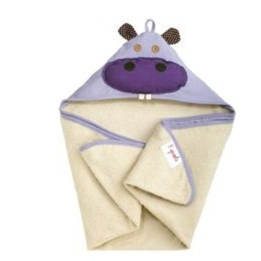 3 SPROUTS 3 SPROUTS PURPLE HIPPO HOODED TOWEL