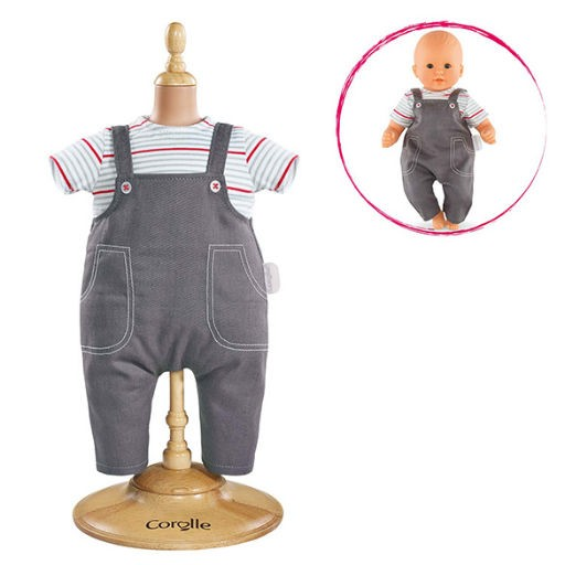"COROLLE SMOCK AND DENIM OVERALL FOR 14"" BABY DOLL"