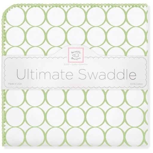 SWADDLE DESIGNS MOD CIRCLES ON WHITE ULTIMATE RECEVING BLANKET
