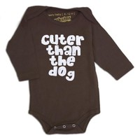 PUNKSTER CUTER THAN THE DOG LONG SLEEVE ONESIE