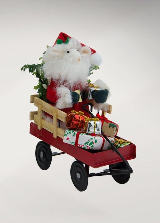 BYERS' CHOICE SANTA MOUSE IN WAGON