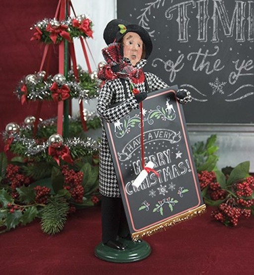 BYERS' CHOICE MAN WITH CHALKBOARD