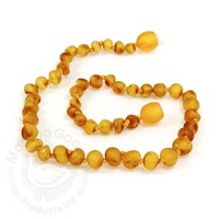 MOMMA GOOSE PRODUCTS YOUTH AMBER HEALING NECKLACE- BAROQUE UNPOLISHED HONEY