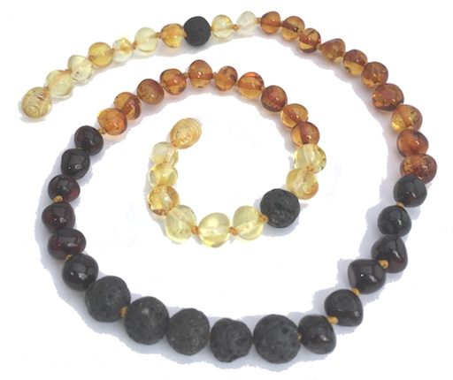 MOMMA GOOSE PRODUCTS ADULT LAVA RAINBOW ESSENTIAL OIL DIFFUSING AMBER NECKLACE