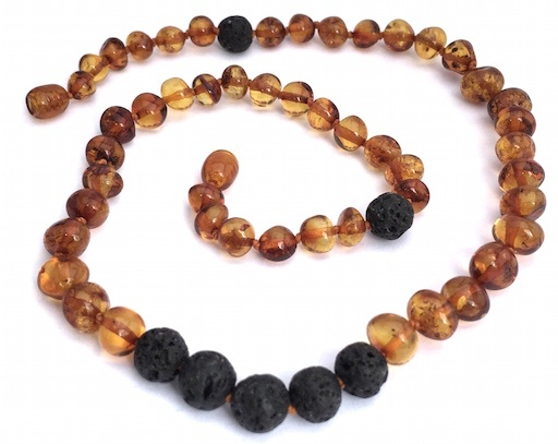 MOMMA GOOSE PRODUCTS ADULT LAVA COGNAC ESSENTIAL OIL DIFFUSING AMBER NECKLACE
