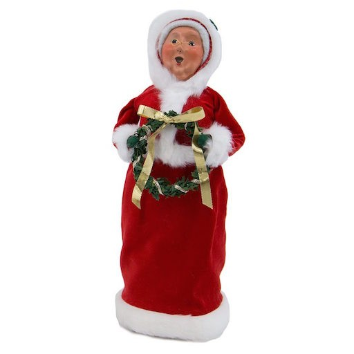 BYERS' CHOICE RED VELVET MRS. CLAUS DECORATING