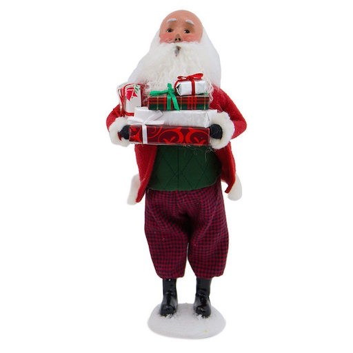 BYERS' CHOICE BALD SANTA WITH PACKAGES