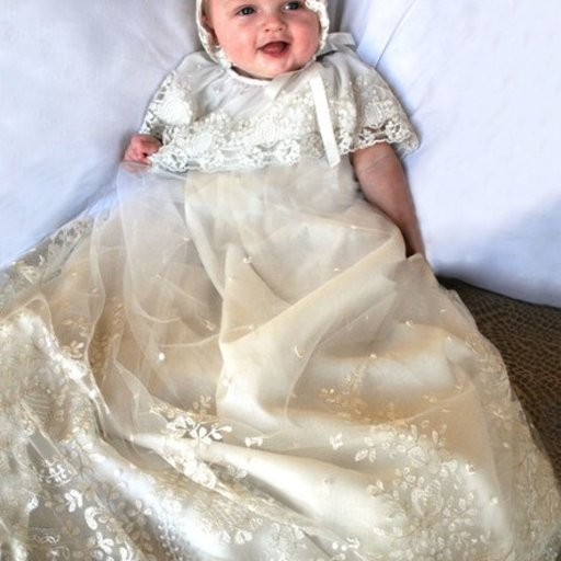 ISABEL GARRETON LEGACY CHRISTENING GOWN IN IVORY EMBROIDERED LACE WITH LACE BONNET SIZE