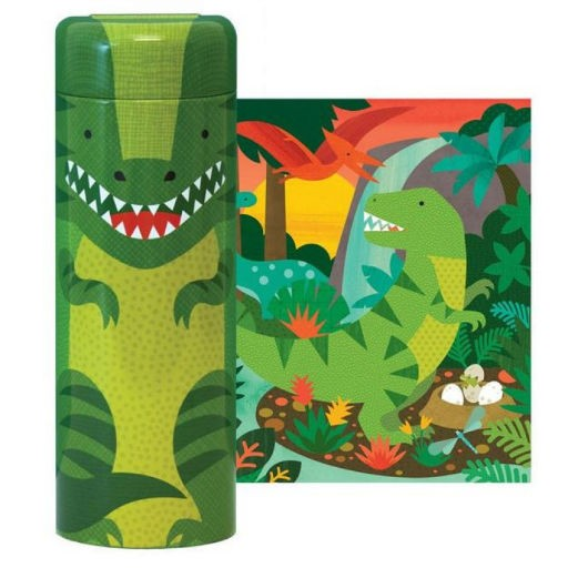 PETIT COLLAGE MIGHTY DINOSAURS 64-PIECE TIN CANISTER