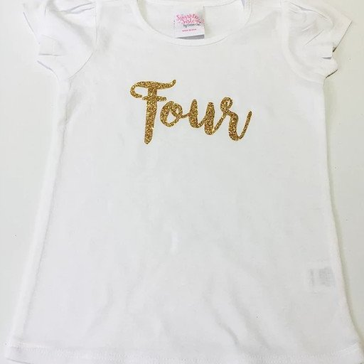 COUTURE CLIPS GOLD GLITTER SCRIPT NUMBER BIRTHDAY SHIRT