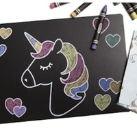 ANNABELLE NOEL CHALKBOARD UNICORN PLACEMAT SET OF 4