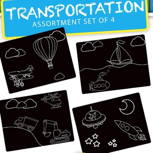 ANNABELLE NOEL CHALKBOARD TRANSPORTATION PLACEMAT SET OF 4