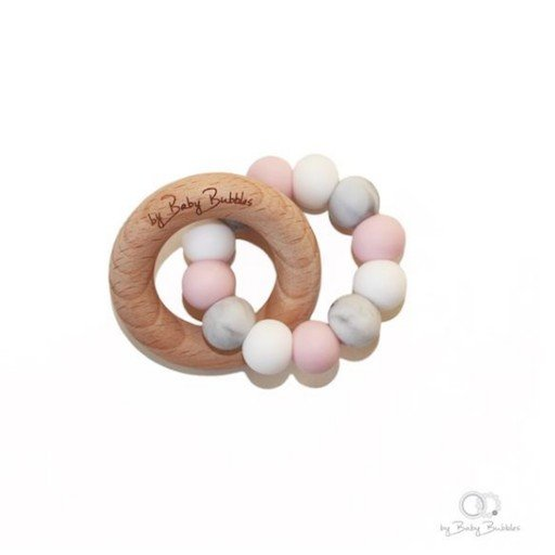 BABY BUBBLES PINK SKIES TEETHING RING