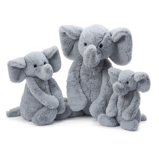 JELLYCAT INC BASHFUL MEDIUM GREY ELEPHANT 12""