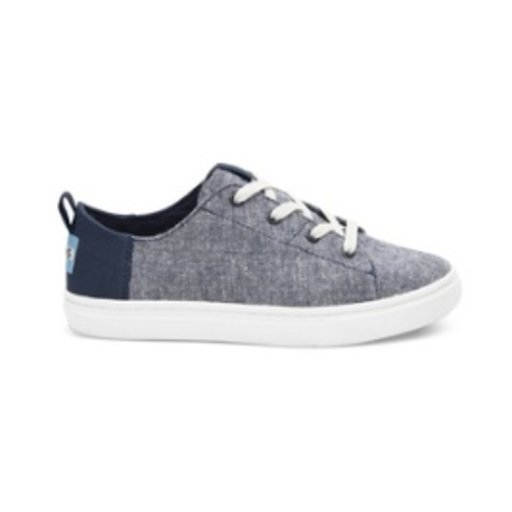 TOMS SHOES NAVY SLUB CHAMBRAY YOUTH LENNY SNEAKER