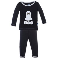 KICKEE PANTS HOLIDAY LONG SLEEVE APPLIQUE BOO PAJAMA SET