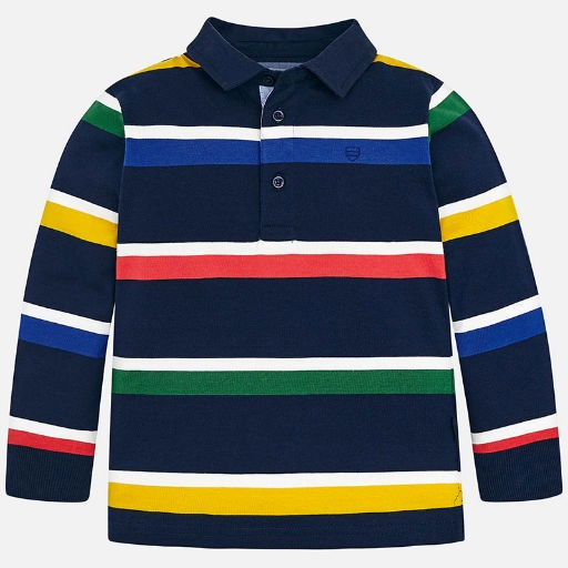 6084c4b9 MAYORAL USA STRIPED LONG SLEEVED POLO SHIRT - BellaBoo