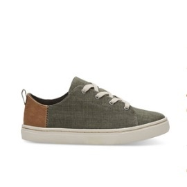 TOMS SHOES CYPRESS COATED LINEN YOUTH LENNY SNEAKERS