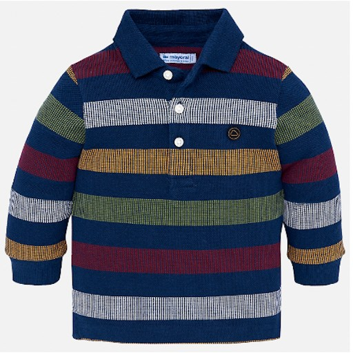 4128cab1 MAYORAL USA LONG SLEEVED POLO SHIRT WITH STRIPES - BellaBoo