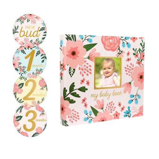 PEARHEAD BABY'S FLORAL MEMORY BOOK & STICKER SET