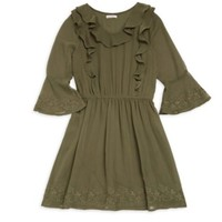 ELLA MOSS EMBROIDERED BELL-SLEEVE DRESS