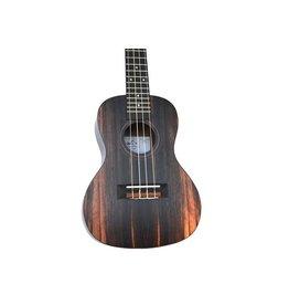 Twisted Wood - DO-300C Dorado, Laminate Ebony Series Ukulele, Concert, w/Bag