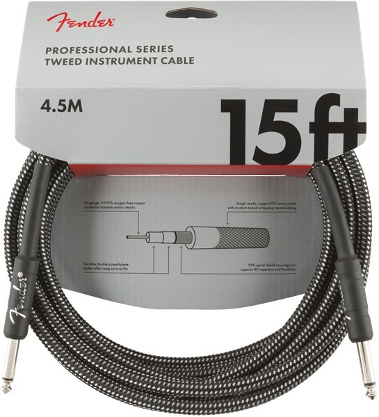 Fender - Professional Series Instrument Cable, Gray Tweed, 15'