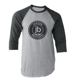 JB Music Co. - Logo Shirt 3/4 Sleeve Ball Shirt, Grey w/Black Sleeves